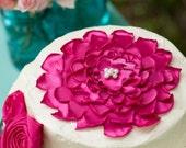 Cake Topper Flower Fushsia Pink Flower Singed Flower Pearls Handmade Flower decor