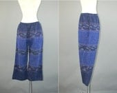 Vtg 80s handwoven batik ethnic ikat cotton cropped pants sz XS / S