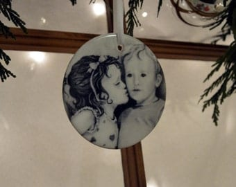 First Kiss Print of ACEO Art on a Ceramic Hanging Ornament