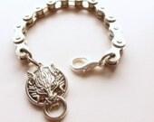 Men's Wolf Bracelet / Bike Chain Bling / Large Size Jewelry for Men / Sports, Cyclist, Bike Jewellery