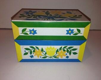 Vintage Metal Recipe Box with Flower Design