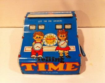 Vintage 1950's Metal Telling Time Toy