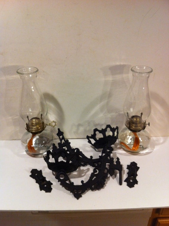 Vintage Cast Iron Oil Lamp Holders with Oil Lamps