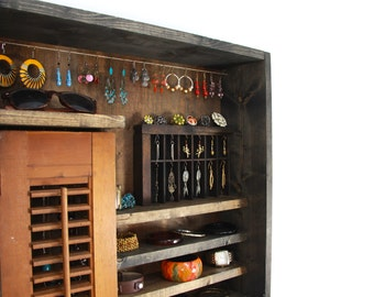 Rustic Wall mounted Jewelry Storage, Organizer ... Handmade by TangleandFold