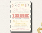 Vintage Spring Bridal Shower Invitation Poster Typography Yellow Gray Pink Coral