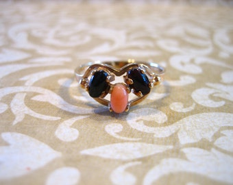 Vintage 10K Angel Skin Coral and Black Onyx Ring
