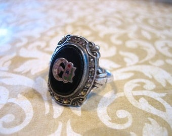 Vintage Sterling Silver Onyx Marcasite Masonic Signet Ring