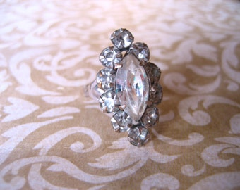 Vintage 50s Costume Rhinestone Adjustable Ring