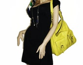 Yellow Leather Handbag Messenger Purse Cross-body Bag Eden