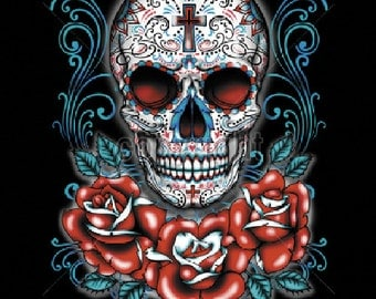Womans Short Sleeve T Shirt Day of the Dead Sugar Skull With Red Roses 17045