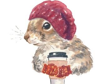 Coffee Squirrel Watercolor PRINT - 8x10 Print, Squirrel Illustration, Cute Squirrel