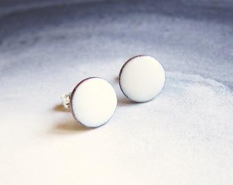 Tiny white stud earrings Small white enamel post earrings Minimalist enamel jewelry