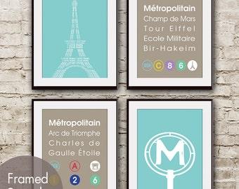 Paris Metro Train Station (Series B) - Set of 4 Art Prints (Paris Inspired Metro Sign Art) (Featured in Maliblu)
