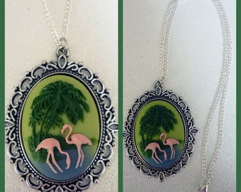 Large Flamingo Cameo Necklace