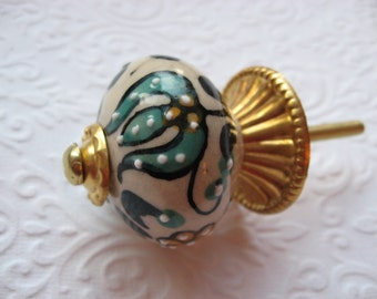 Gold and Blue Hand Painted Knobs Drawer Pulls with Backplates Set of 2 for your Drawers or Cabinets Furniture Home Decor Traditional  B-26