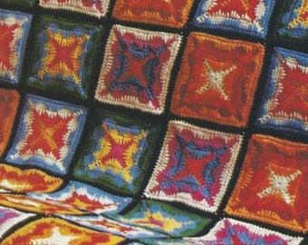 Vintage Granny Square Patchwork Afghan Crochet Pattern PDF Download