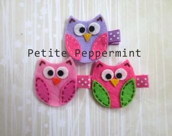 Baby hair clip, newborn hair clip, toddler hair clip, Owl Baby Hair Clip, Baby Girl Hair Clip - You Pick Color