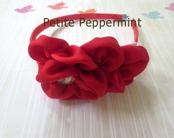 Baby headband, toddler headband, little girl headband, big girl headband, toddler hard headband - Red Flower Headband