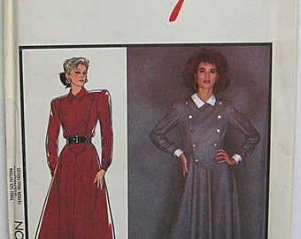 RARE Vintage 80's Misses' Dress Military Button Front Bodice Style 1085 Pattern UNCUT Sizes 12-14-16