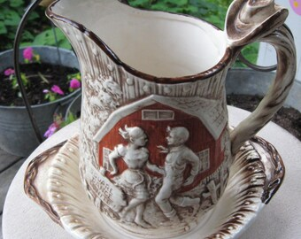 Vintage Pitcher and Bowl / ENESCO E-1039 1978 / Country Western Design on Pitcher/Vase / Cowboy and Cowgirl Dancing / Swing Your Partner