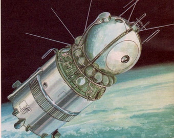 RUSSIAN SPACECRAFT in orbit, 1960s outerspace print, space ship, boy bedroom