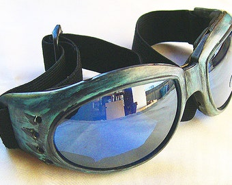 Distressed Antique-Patina Green 'STEAMPUNK' Cyber Rave Goggles
