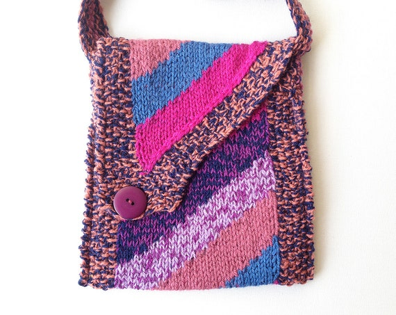 Purple Maypole Handbag - Quirky Handmade Shoulder Bag, Purple Handbag with Diagonal Flap