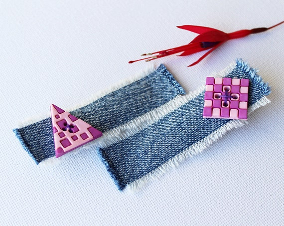 Raspberry Triangle and Square Geometric Pink Hair Clips. Pair of pink hair clips - crocodile clips pink hair accessories.