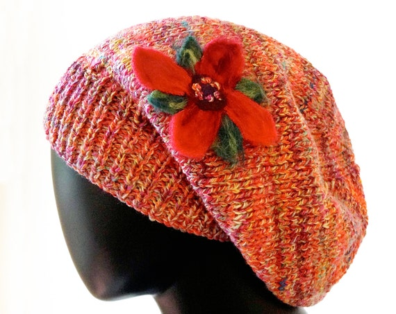 Poinsettia Flower Slouch Hat - Warm & Cozy Knitted Woolly Hat with Flower