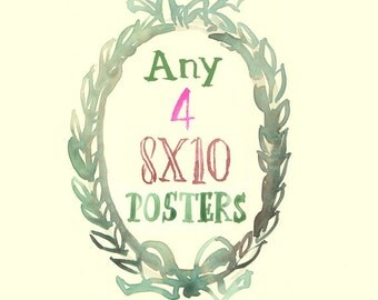 Any four 8X10 prints - Custom Lucileskitchen watercolor painting posters - Kitchen art print set