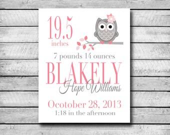 Custom Birth Print   Pink Owl   Digital Print   Nursery Print   Baby Shower   Custom Birth Record
