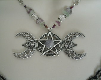 Fluorite Triple Moon Goddess Necklace, wiccan jewelry pagan jewelry wicca jewelry goddess jewelry witch witchcraft pentacle pentagram magic