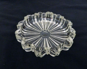 Vintage Gold Leaded Crystal Ashtray 5 1/2 inches - 6 cigarette slots
