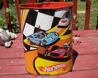 Vintage very cool retro 1970 metal mattel hot wheels wastebasket waste basket trash can - Cool wastebaskets ...