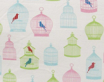 cotton fabric by the yard - birdcage print fabric - 1 yard ctnp251