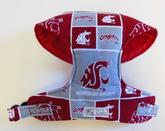 WSU Cougar Comfort Soft Dog Harness - Made to Order-