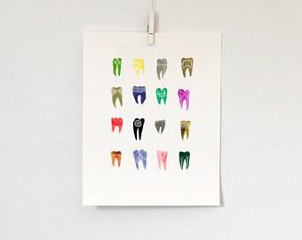 Colorful Symbolic Teeth, print