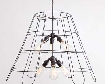 24 Inch Chandelier Vintage Lampshade Frame Pendant Light 6 Light Bulb (Medium) Vintage Industrial // Cloth Covered Twisted Cord & Plug