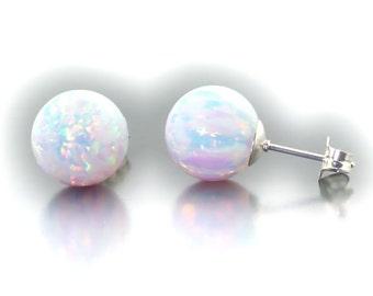 Lorraine: 10mm Australian Fiery White Opal Ball Stud Post Earrings, 925 Sterling Silver, White Opal Earrings, Bridesmaid Earrings