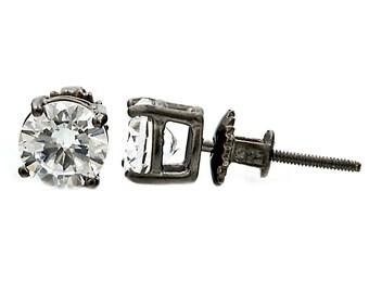 2.0ct 6.5mm Round Brilliant-cut Russian IOF Diamond CZ Black Rhodium Finish Screw Back Stud Earrings Solid 925 Sterling Silver, 30126-0989