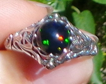 Sz 10,Black Welo Opal, Sterling Silver Ring, Ethiopian Black Opal Ring, Blue, Green, Red Fire, Ornate Ring,Edwardian Style, Mystical Stone