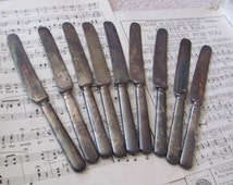 Set of 9 Heavy Antique Silver Plate Dinner Knives - Tarnished