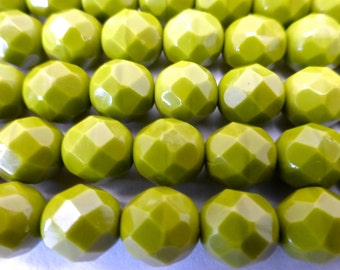 NEW COLOR   25 Czech Glass Fire Polished Beads in Opaque Olive  8mm Size