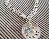 Grammy Bracelet Sterling Silver Personalized Hand Stamped Charm for mother, mom, grandma Nona gram Mimi Custom mothers day gift