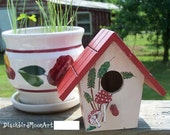 Hand Painted Folk Art Decor Birdhouse - Mushrooms and Ferns, Cottage Style FREE SHIP