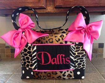 HUGE Faux Fur Leopard Giraffe Zebra Polka Dots Hot Pink Diaper Bag