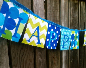 Birthday banner Party Decoration Royal Blue, Turquoise, Lime Green fabrics Happy Birthday Party Banner Photo prop Cake Smash Banner