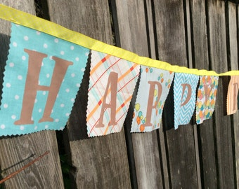 Happy Birthday Banner, Fabric Party Bunting Flags, Balloons UP movie theme yellow, tangerine, aqua, green kids birthday decoration