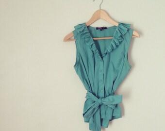 Aqua blouse with pleated collar