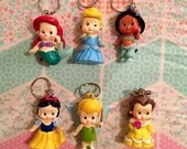princess key chains. belle. jasmine. cinderella. tinkerbelle. snow white. keychain. disney. princess.